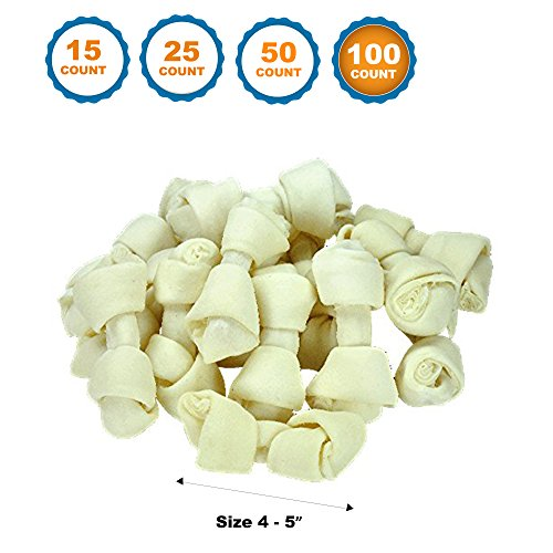 123 Treats 4-5 inch Rawhide Bones for Dogs | Premium Rawhide Bone Chews | Free Range Grass Fed Cattle with No Hormones, Additives or Chemicals (100) For Sale