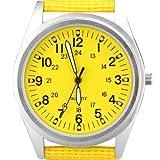 Orkina Womens Silver Case Yellow Dial Quartz Nylon Fabric Band Fashion Wrist Watch
