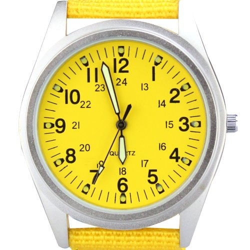 Orkina Womens Silver Case Yellow Dial Quartz Nylon Fabric Band Fashion Wrist Watch (Womens Yellow Dial)