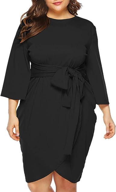 Womens Csual Dresses O Neck 1//2 Sleeve Plus Size Knee Length Summer Dress with Pockets