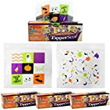 Halloween Plastic Sandwich Bags Zipper Seal Trick and Treat Candy Goodie Party Bags 100 Bags 2 Designs (25 Bags per Box)