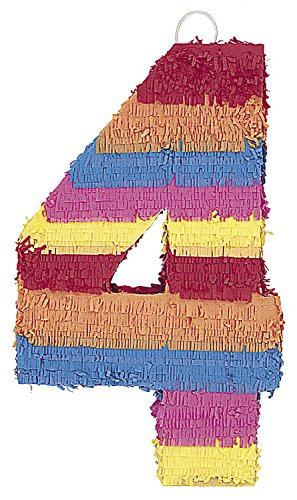Multicolor Number 4 Pinata -