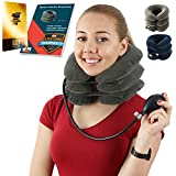 Neck Traction Collar for Men and Women – Cervical Brace for Home Use – Neck Stretch Pillow That Promotes Better Posture and Provides Pain Relief (Grey)