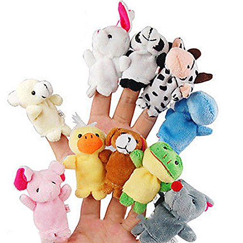 mk. park - 10 Pcs Family Finger Puppets Cloth Doll Baby Educational Hand Cartoon Animal Toy