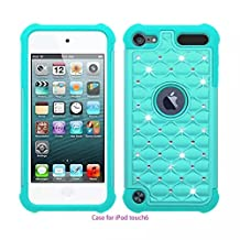 iPod Touch 5 ,iPod Touch 6,Lantier Thin Slim Fit Studded Rhinestone Crystal Bling Hybrid Armor Case Cover for Apple iPod Touch 5 / iPod Touch 6 Blue+Blue