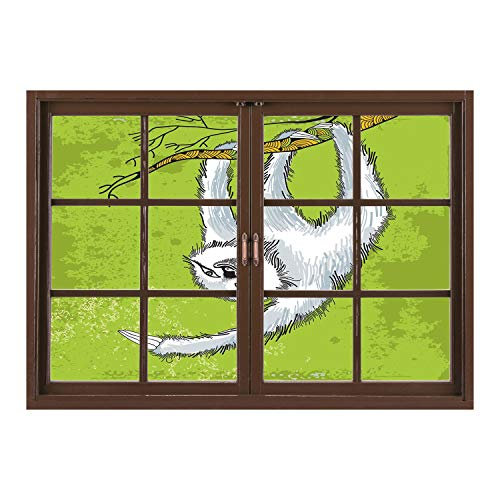 SCOCICI Wall Sticker,Window Looking Out Into/Sloth,Smiling Sloth Clutches Hanging on a Decorative Branch Habitat Wildlife Decorative,Light Grey Green White/Wall Sticker Mural ()