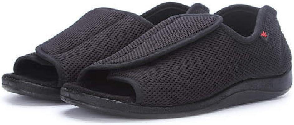 TDYSDYN Zapatilla DiabéTica Sin Cordones para Mujer,Zapatos de Malla con Velcro Ajustable, pies gordos y pies hinchados Zapatos para diabéticos-Negro_43