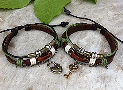 59e4f26aee Amazon.com: Couples Bracelet ,Key Lock Bracelet ,Lovers Leather ...