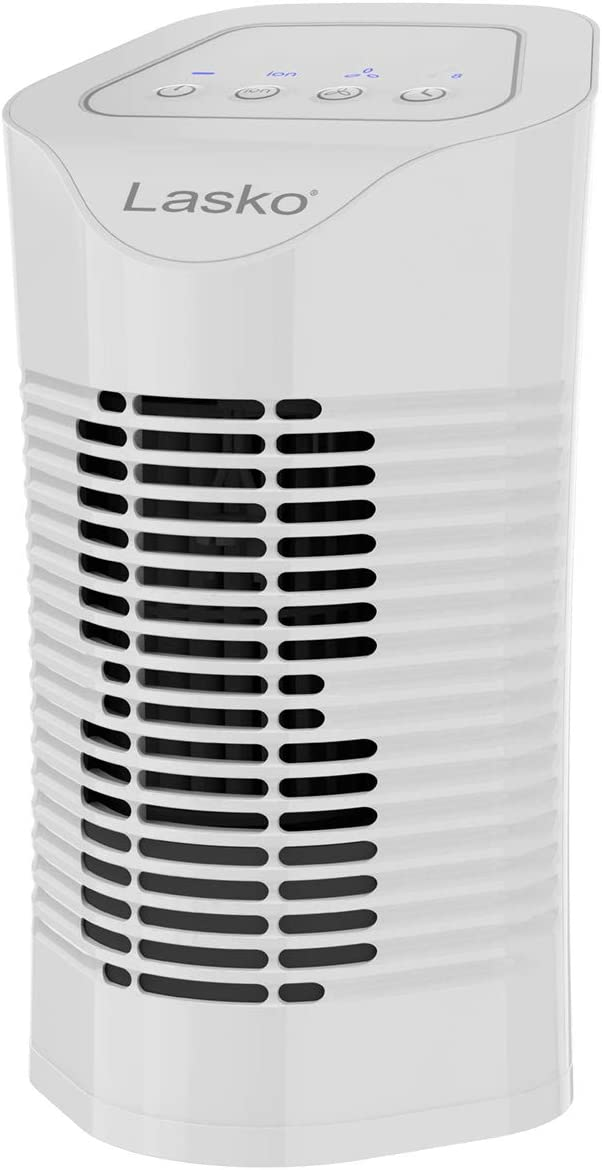 Lasko HF11200 Desktop Air Purifier for Home, Office, Bedroom, Dorm and Small Rooms – 3-Stage Filtration Removes Smoke, Pet Odors, Allergens, Dust and Mold Spores, White