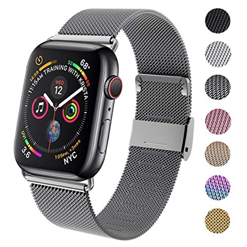 GBPOOT Compatible for Apple Watch Band 38mm 40mm 42mm 44mm, Wristband Loop Replacement Band for Iwatch Series 4,Series 3,Series 2,Series 1,Space Gray,42mm/44mm