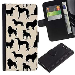 Supergiant (Dog Species Pattern Black Beige) Dibujo PU billetera de cuero Funda Case Caso de la piel de la bolsa protectora Para Sony Xperia Z3 Compact /D5803 / D5833