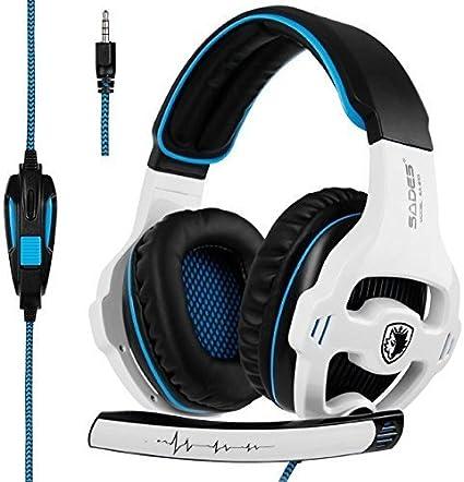 [2018 Nueva versión Xbox one Gaming Headset] SADES SA810 Auriculares Over-Ear Stereo Gaming Headset con micrófono Bass Control de volumen Auriculares Gaming para Xbox One / PS4 / PC / Laptop (Blanco)