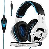 SADES SA810 Auricolare da gioco Nuovo aggiornato Xbox One mic PS4 auricolari sopra l'orecchio Stereo cuffia avricolare Gaming Headset Headphones con microfono di isolamento del rumore per il nuovo PC Xbox PS4 Laptop PC (nuova versione bianca)