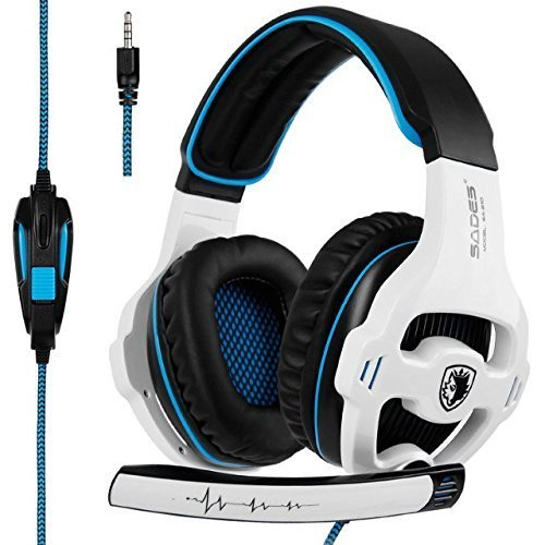 Sades SA810 Over-Ear Stereo Bass Gaming Headset with Noise Isolation Microphone for Xbox One PC PS4 Laptop Phone(White Blue)