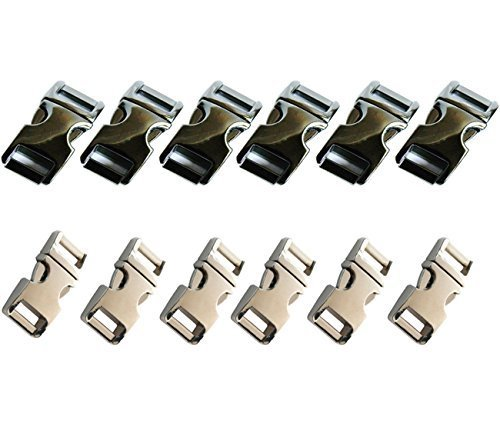 "Buy Elife 12 PCS 5/8""(15mm) Flat Metal Side Release Buckles - Silver and Gun Metal Black Color"