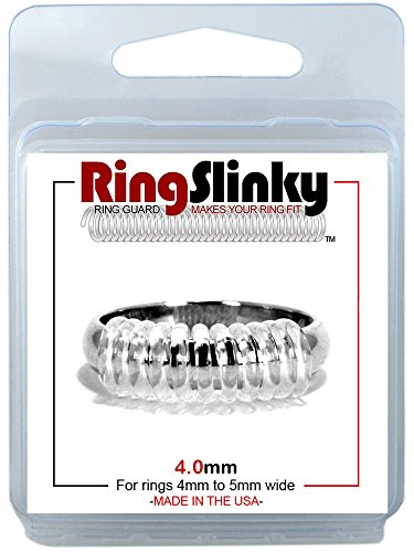 RingSlinky:  Ring Size Reducer | Ring Guard | Ring Size Adjuster. Size: 4.0 mm, for rings 4 mm to 5 mm wide.