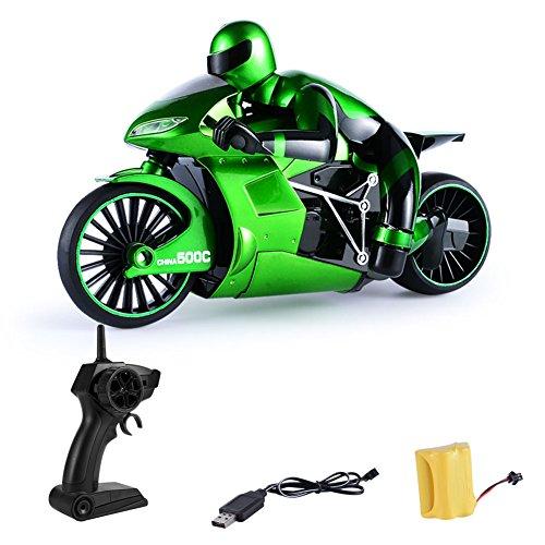 Rabugoo クール オートバイ おもちゃ 2.4G 高速 4チャンネル RC オートバイ スタント シミュレート 自動車 バイク 子供 おもちゃ クリスマス プレゼント