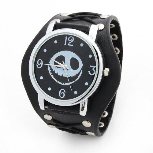 Skull Band Cuff Watch (Unisex Punk Rock fashion Skeleton Pirate Skull Rivet Quartz Wrist Watch Leather Strap Bracelet)