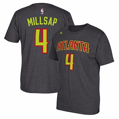 adidas Paul Millsap Atlanta Hawks NBA Men Grey Official Player Name & Number Jersey T-Shirt (XL) (Player Tee Adidas Mens Nba)