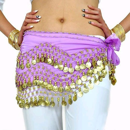 Turkish Chiffon Three Row Belly Dance Coin Hip Scarf Belt lilac/gold by NA (Turkish Hip Scarves)