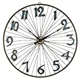 Lone Elm Studios 31.9″ D Bicycle Wheel Clock Home Decor, 32InL x 32InW x 4.5InH, Brown