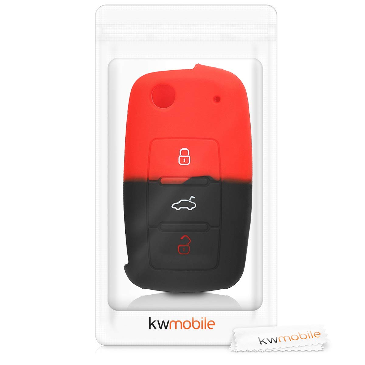 kwmobile Car Key Cover for VW Skoda Seat White//Black Silicone Protective Key Fob Cover for VW Skoda SEAT 3 Button Car Key