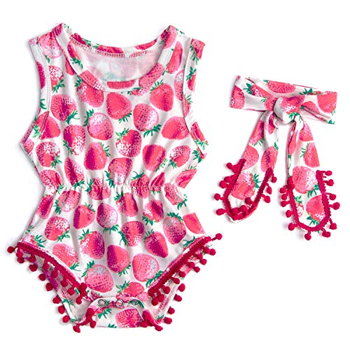 Leapparel Baby Girls Rompers Onesies Personalized Pink Strawberry Pattern Sleeveless Bodysuit OutfitsBodysuit Printing Romper 1-2T ()