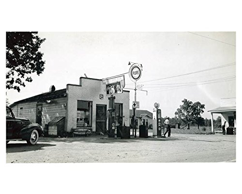 1941 Pure Oil Gas Station Photo Poster Mineral Springs NC Gas Globe from AutoLit