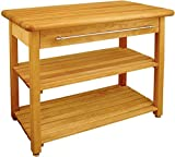Lana45 Butcher Block Table Wood Contemporary Kitchen Drawer Shelves provide extra storage