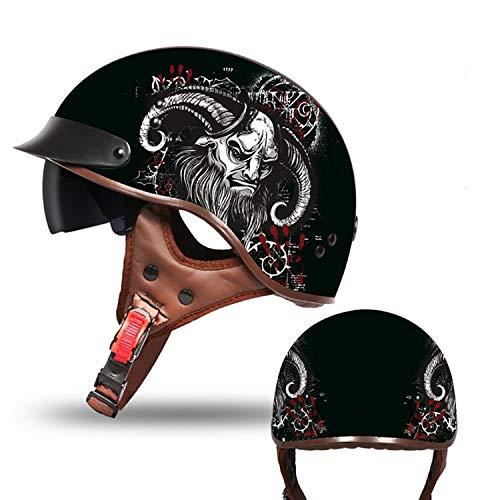 Adult Beanie Motorcycle Half Helmet Retro Adult Helmet Motorcycle Harley Skull Half Helmet DOT Certification Men and Women Domineering Style Bicycle Scooter Travel Street Half Helmet,4,L