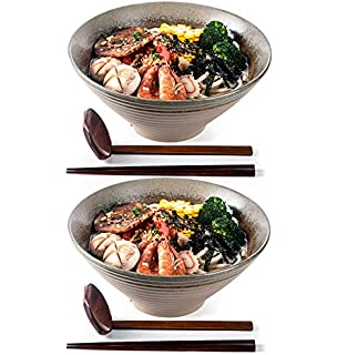 20 Ounce Bowl - White 2-Pack B01DWNSAOO Tasse Verre Porcelain Ramen Noodle Soup Bowl with Bamboo Chopsticks and Ceramic Spoon