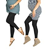 Preggers 2 Pack 10-15mmhg Footless Maternity Compression Leggings (Black, SM)