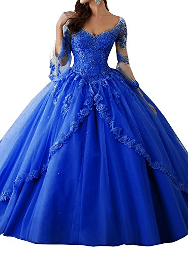 2248cbab07031 Eldecey Women s V-Neck Lace Applique Sweet 16 Long Sleeves Pageant Floor  Length Ball Gown Prom Quinceanera Dress Royal Blue US2
