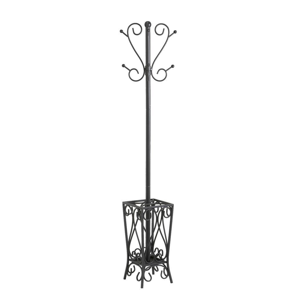 southern enterprises black scrolled metal coat rack and umbrella  - view larger