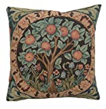 Woven European jacquard tapestry cushion covers. Orange Tree - William Morris. 14 x 14'' - Detailed hand finished designer decorative throw pillows for couch and sofas.