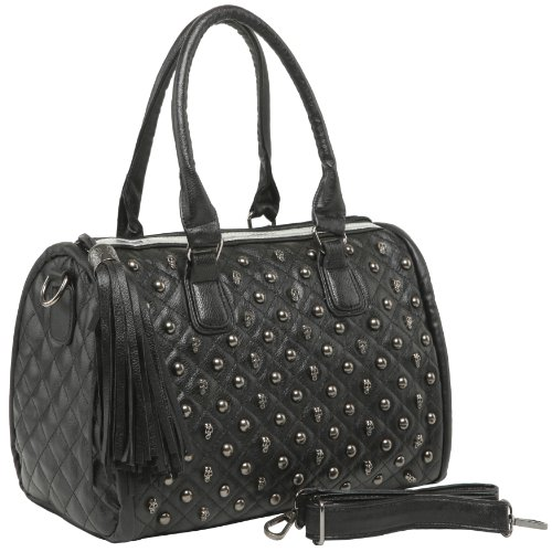 MG Collection Madra Gothic Skull Studded Quilted Bowling ...