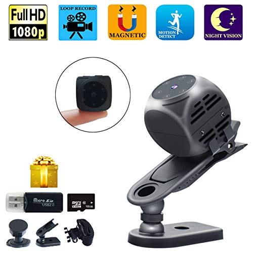 Spy Camera Wireless Hidden Gupacido Hidden Camera Mini Camera with 16GB TF Card& Card Reader HD 1080P/720P Wireless Small Portable Night Vision Motion Detection Spy Cam for Home, Car, Drone, Office Review