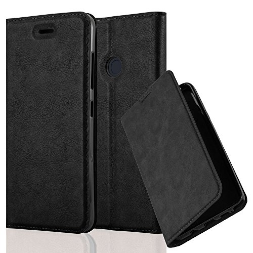 Cadorabo Case Works with HTC Desire 10 Pro Book Case in Night Black (Design Invisible Closure) – with Magnetic Closure, Stand Function and Card Slot – Wallet Case Etui Cover - Wallet Htc Phone Desire