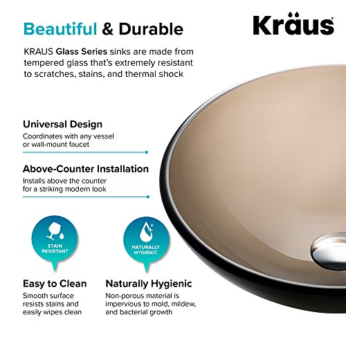Kraus GV-103-14 Clear Brown 14 inch Glass Vessel Bathroom Sink by Kraus (Image #7)