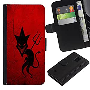 Planetar® Colorful Pattern Flip Wallet Leather Holster Protective Skin Case Cover For Samsung Galaxy S5 Mini / SM-G800 (Not For S5!!!) ( Sly Devil )