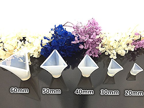 Pyramid Geometrical Silicone Mold Flower Herb Mould DIY Pendant Charm Jewelry Handmade Gift,20 30 40 50 60mm (Silicone Mold Pyramid)