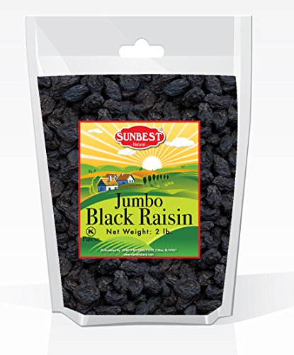 SUNBEST Seedless Black Jumbo Raisins in Resealable Bag … (2 Lb)