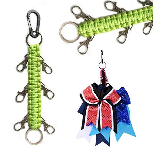 DEEKA Paracord Handmade Cheer Bows Holder for Cheerleading Teen Girls High School College Sports - Fluo Green Mixed