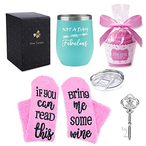 Not a Day Over Fabulous Wine Tumbler/Sock Gift Set