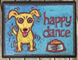 HAPPY DANCE. Large dog food mat. Water absorbent. Non-skid. Premium quality. Made in USA.