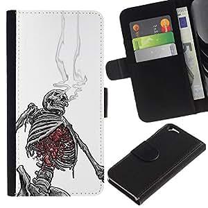 All Phone Most Case / Oferta Especial Cáscara Funda de cuero Monedero Cubierta de proteccion Caso / Wallet Case for Apple Iphone 6 // White Black Skeleton Skull Smoke