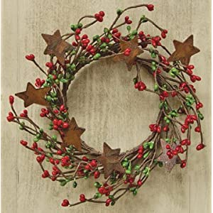 Red & Green Pip Berry Ring Mini Wreath With Rusty Stars Country Primitive Christmas Holiday Decor 87