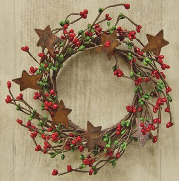 - Red & Green Pip Berry Ring Mini Wreath With Rusty Stars Country Primitive Christmas Holiday Decor
