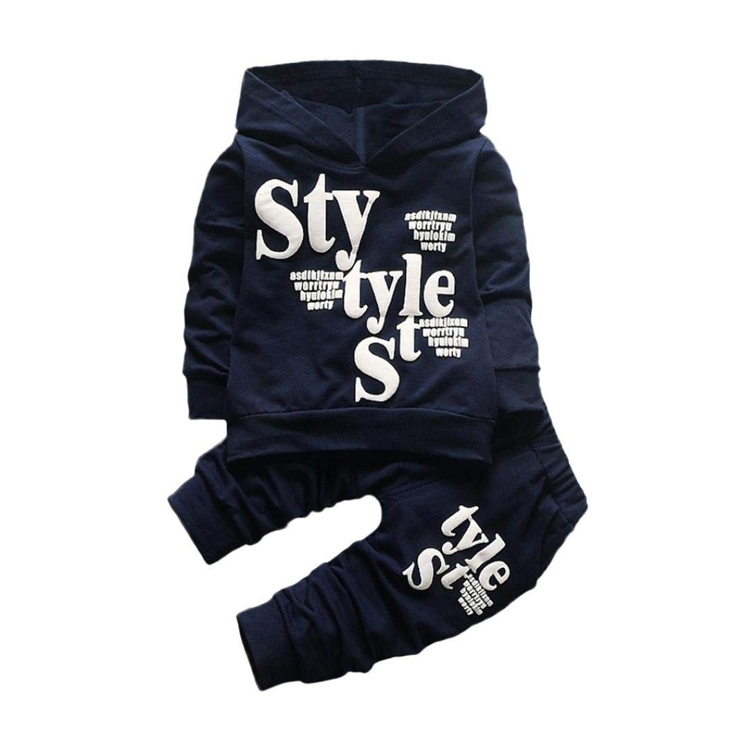 Toddler Baby Boy Hooded Tops Casual Long Sleeve Shirt Letter Style Pattern Pants Sports Clothes 2Pcs Set (Navy, 18 Months)