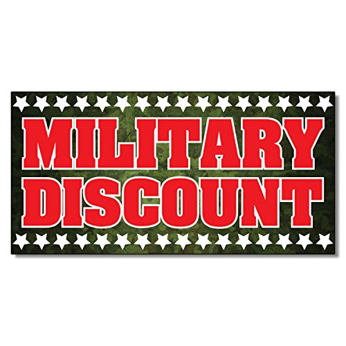 Military Discount Business DECAL STICKER Retail Store Sign 4.5 x 12 inches